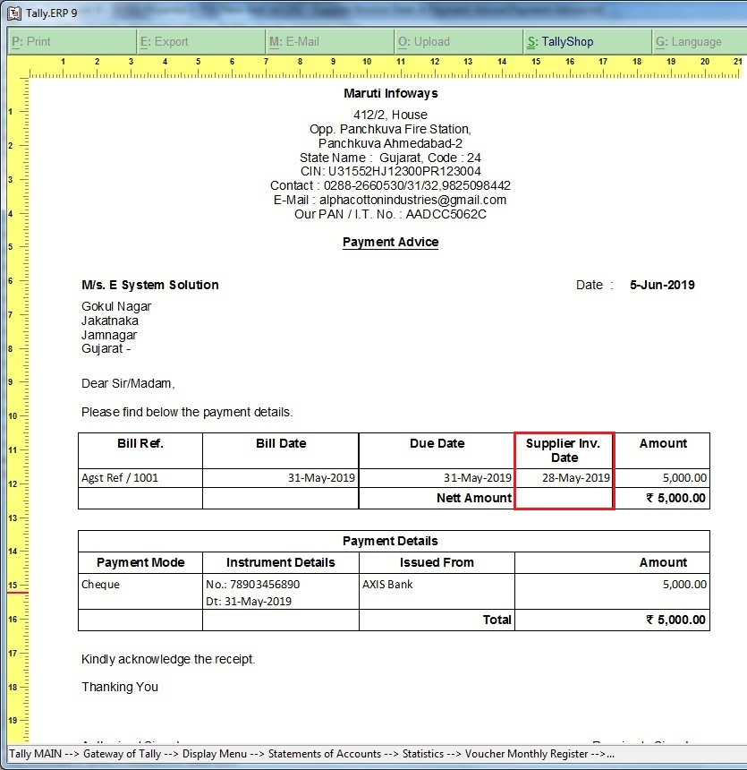 Supplier Invoice Date in Payment Advice