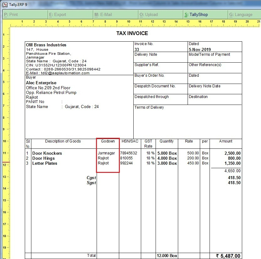 Print Godown Name as Separate Column in Sales Invoice