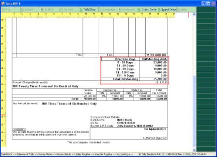 Print Outstanding Amount Ageing wise  in Sales Invoice.