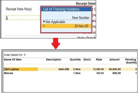 Show Item Details in Challan & Receipt Note   Selection
